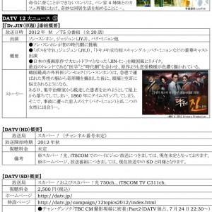 ソン・スンホン、ジェジュン(JYJ)主演『Dr.JIN(原題)』他DATVにて日本初放送決定!
